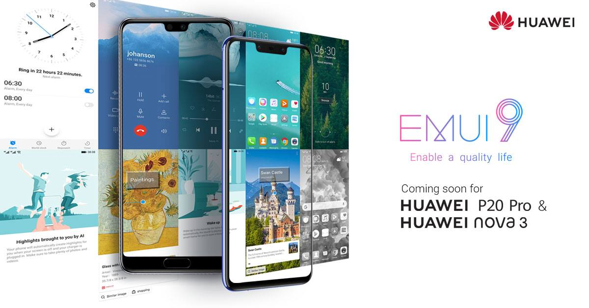 EMUI 9 0/Android 9 0 Pie coming to the Huawei P20 Pro and