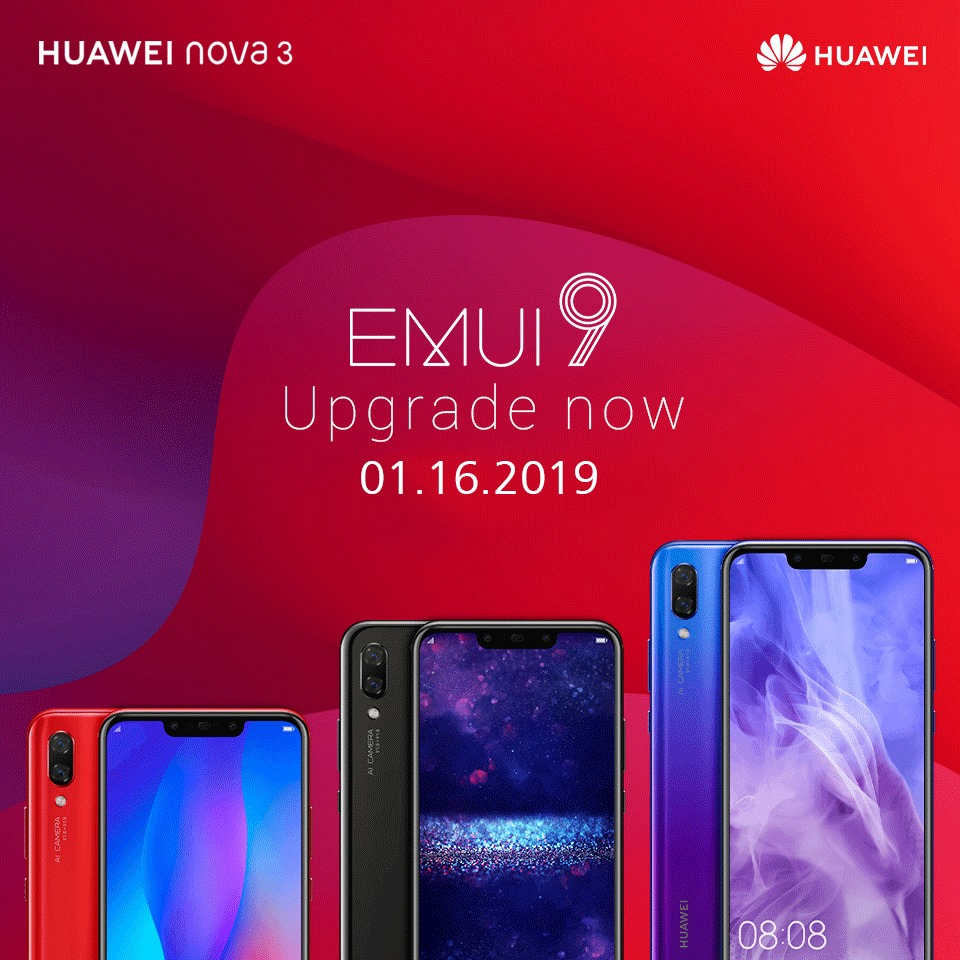 Huawei rolling out EMUI 9 0 update to Nova 3 and Nova 3i in