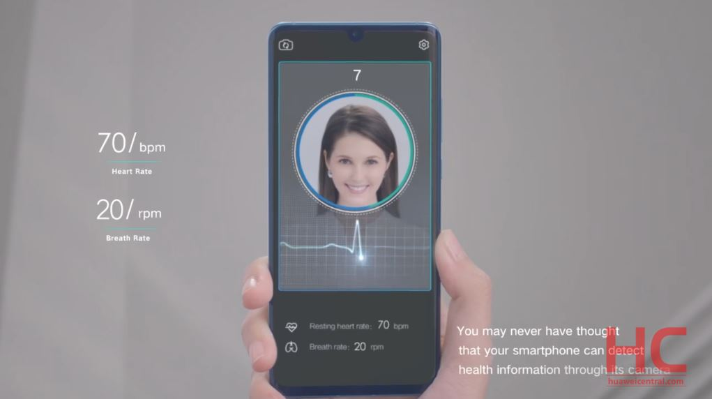 Huawei Face AR: Measure heart rate and breath rate just by