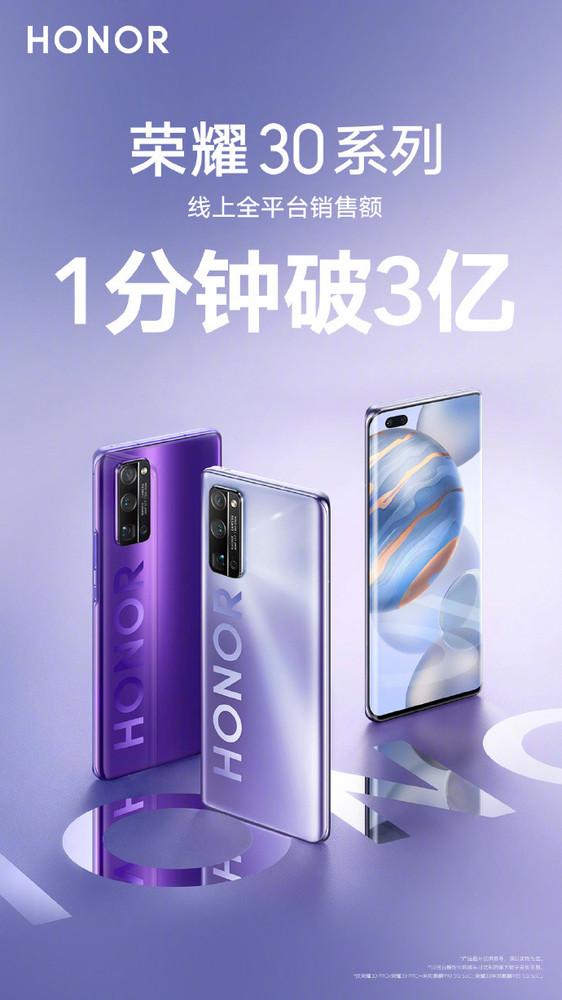 Honor 30 Series 300 Million Yuan Sales Under 1 Minute
