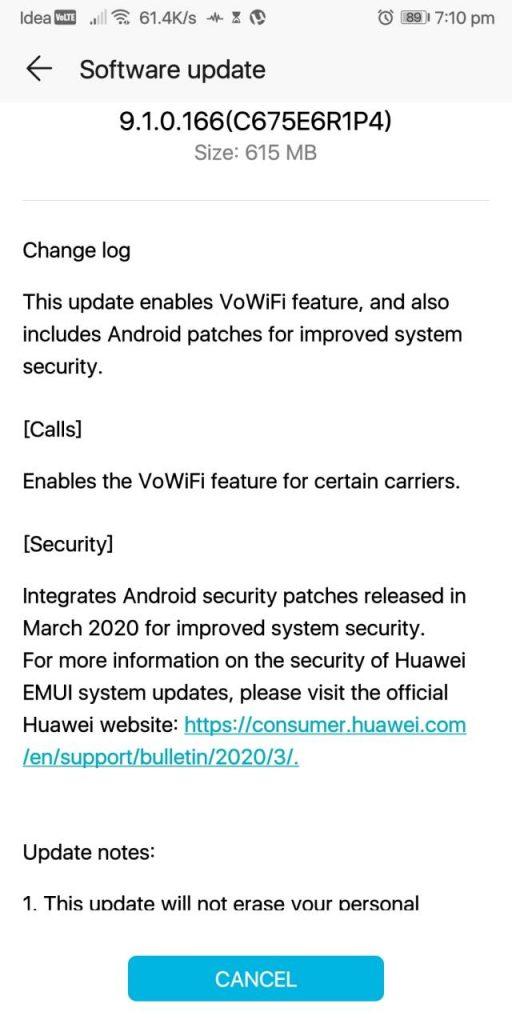 Honor 9 Lite VoWiFi Update