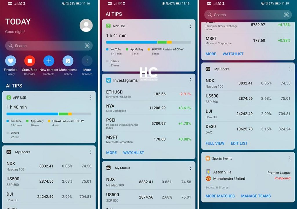 Huawei Assistant Today Feeds and Smart Card