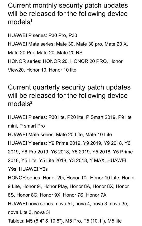 May 2020 Huawei EMUI security patch devices