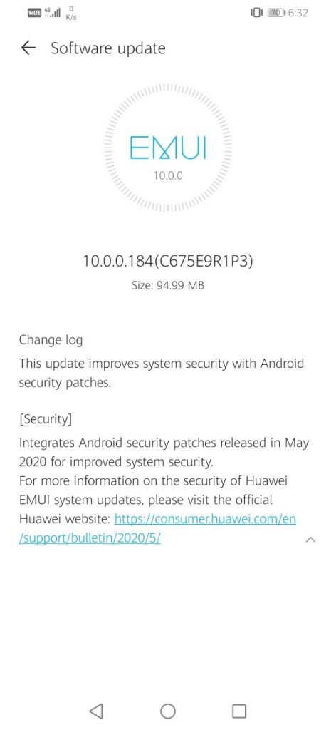 Honor 20i May Update