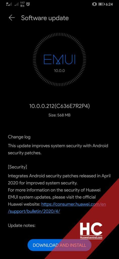 Huawei Mate 20 Pro April 2020 Security Update