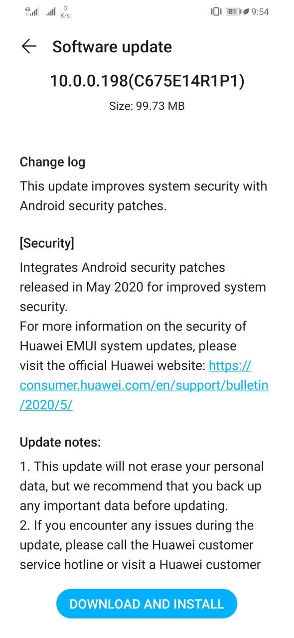 Honor 8X May 2020 Security Update