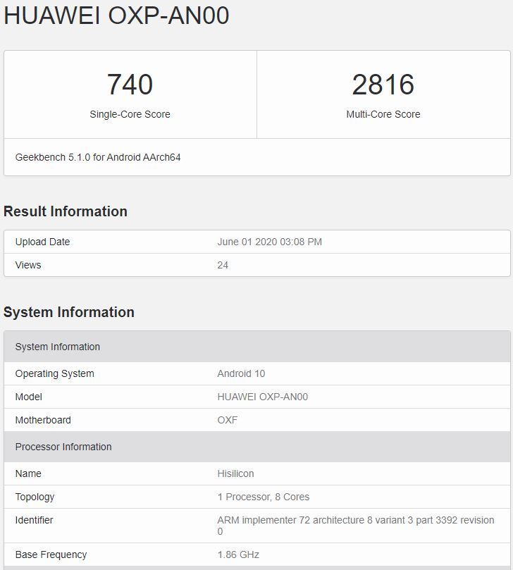 Honor Play 4 Pro Geekbench result
