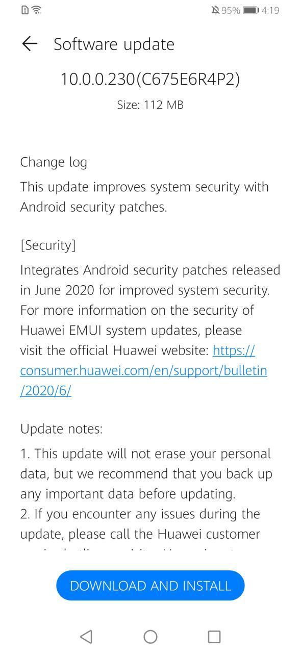 Huawei Y9 Prime 2019 June 2020 Update