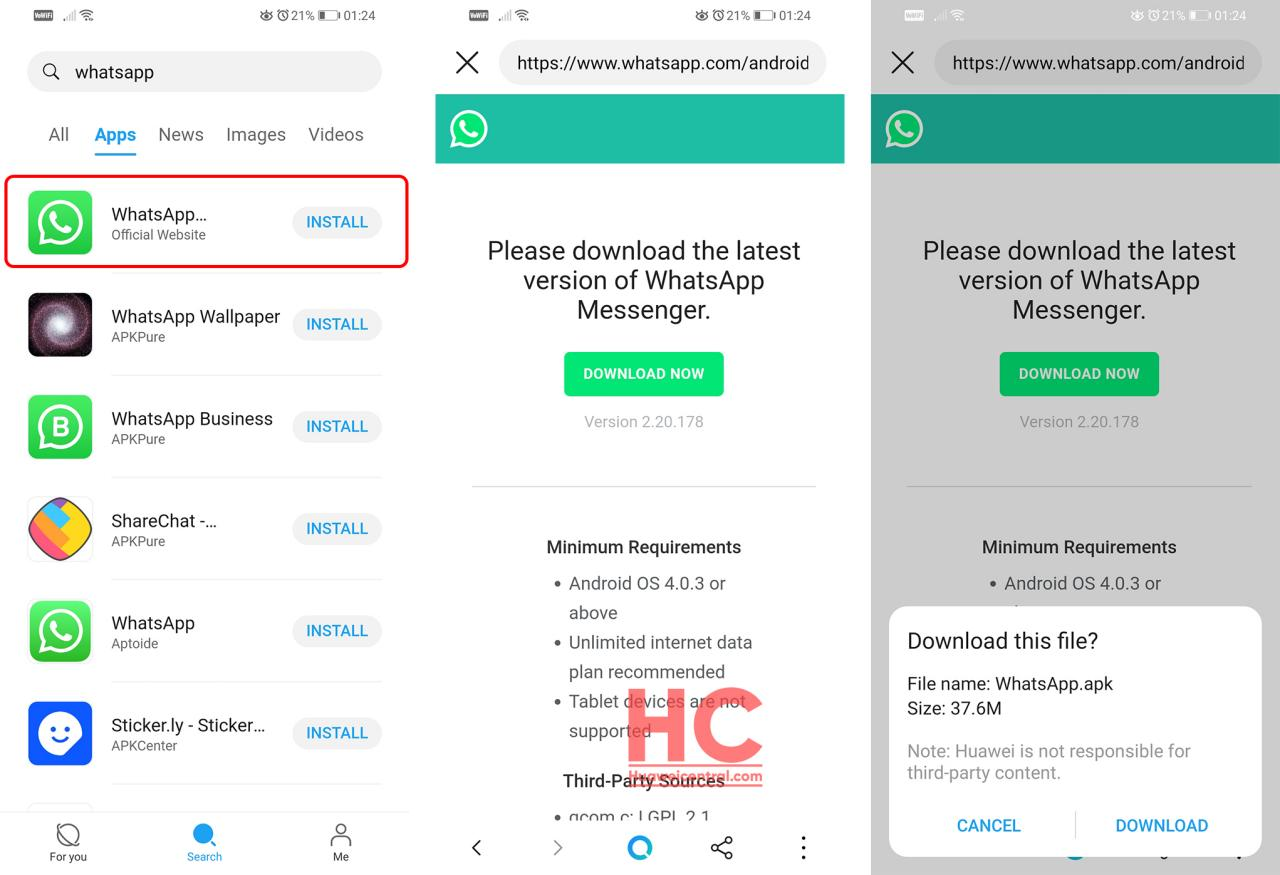 Download WhatsApp using Petal Search