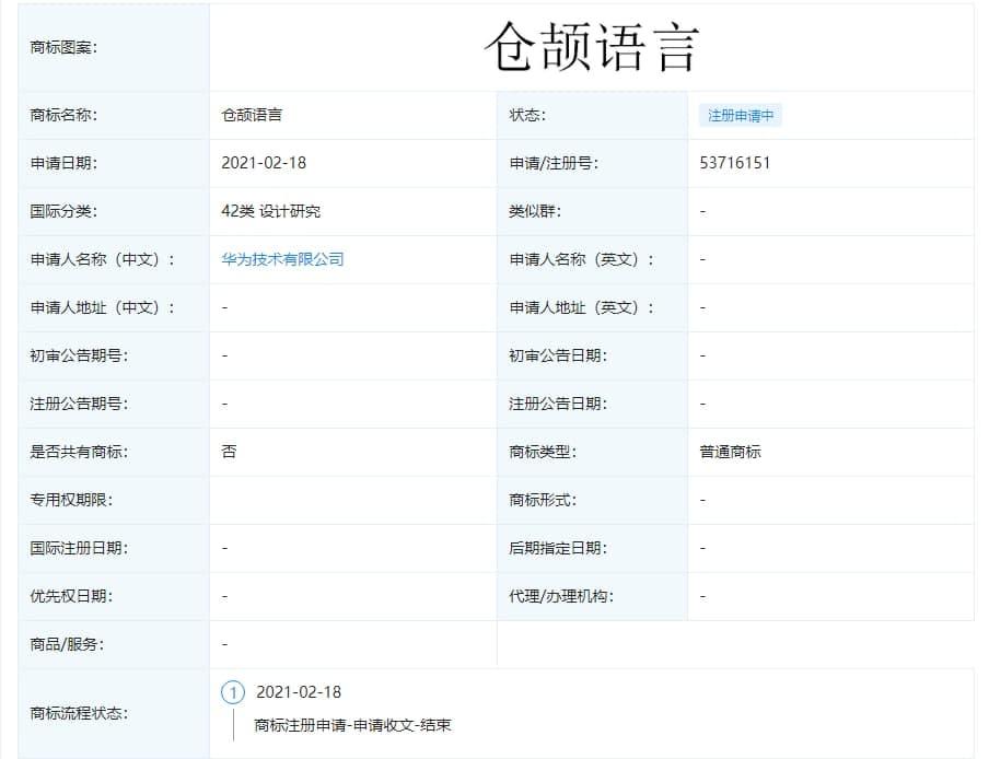 Huawei Programming Language trademark