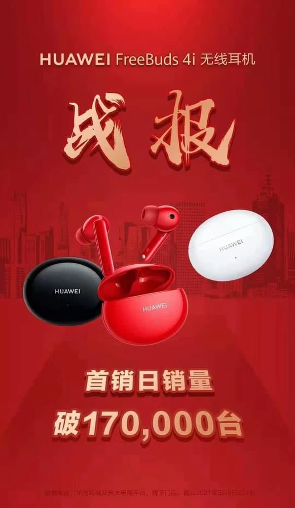 Huawei FreeBuds 4i vendeu mais de 170.000 unidades na estreia 2