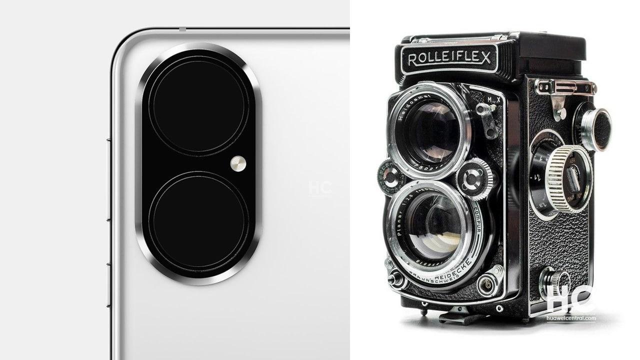 O design da câmara Huawei P50 faz lembrar A câmara reflex de lente dupla Rolleiflex (TLR) 1