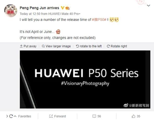Huawei P50 será aparentemente lançado em maio de 2021 1