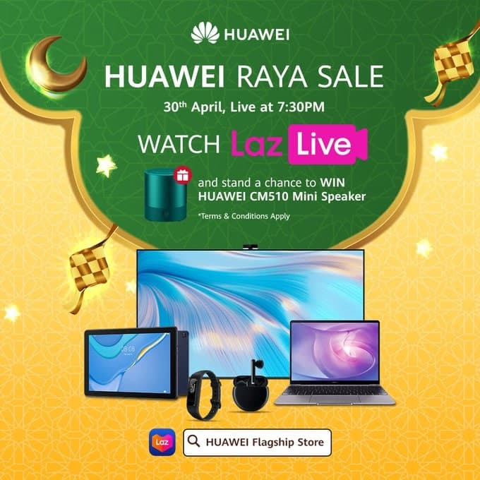 Huawei Malaysia: Watch Raya Sale Livestream and stand a chance to win Huawei CM510 Mini Speaker