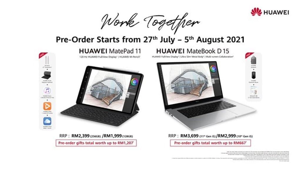 Huawei MatePad 11 and MateBook D 15 pre-orders Malaysia