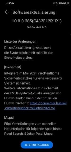 Huawei Mate 20 Lite May 2021 update