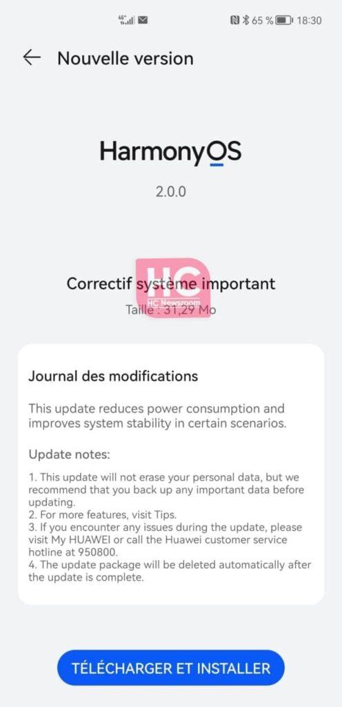 HarmonyOS 2 battery improvement patch Huawei Mate 40