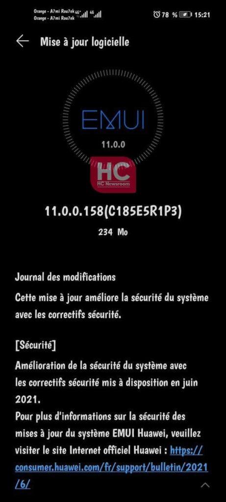 Huawei Nova 7 5G June 2021 update