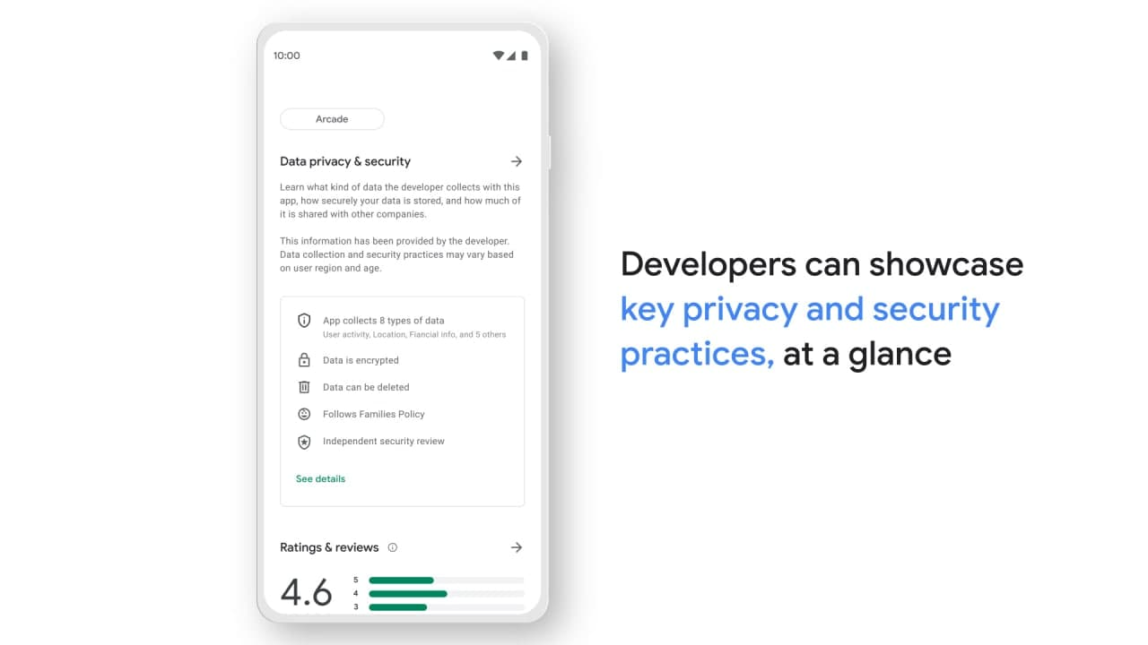 Google Play Store Safety Section Information