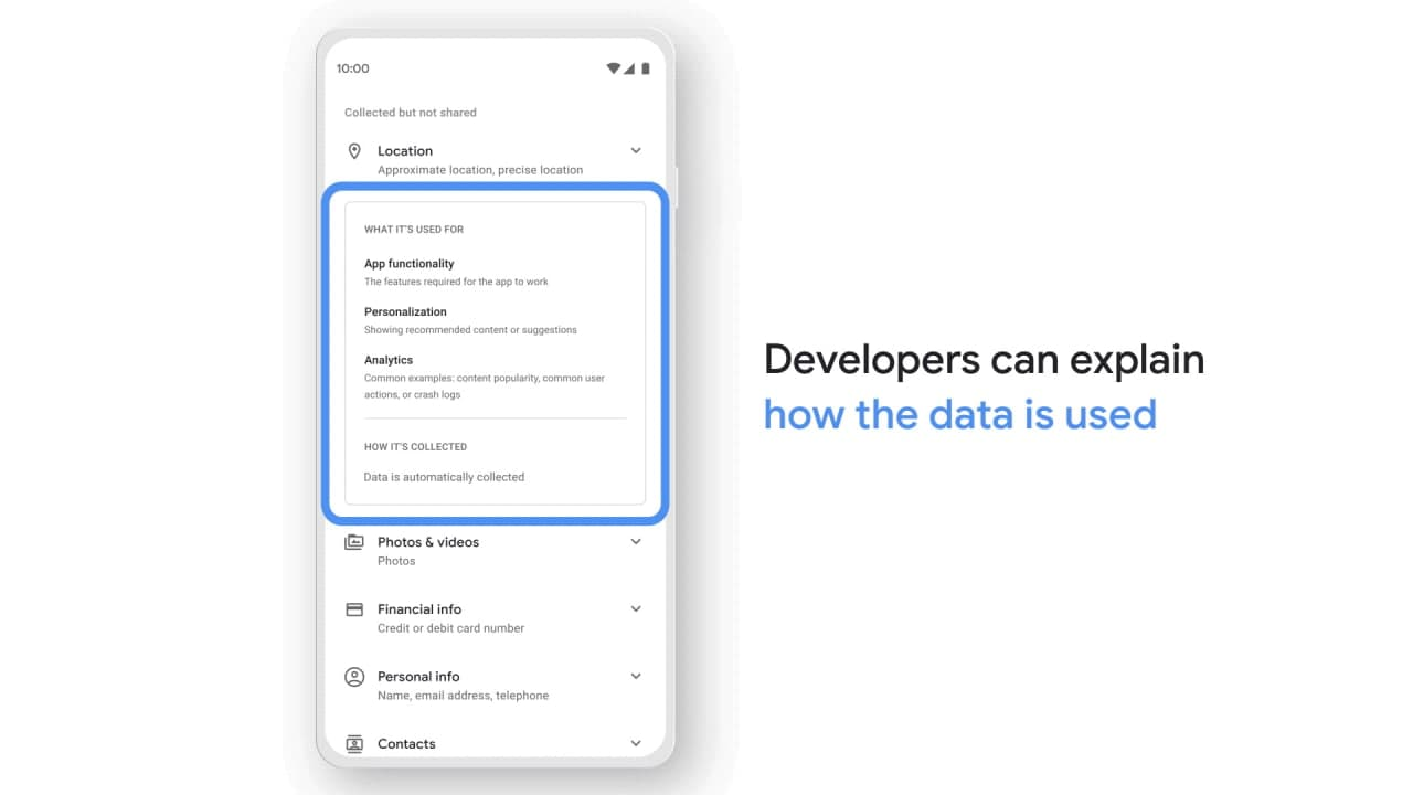 Google Play Store Safety Section Information further details