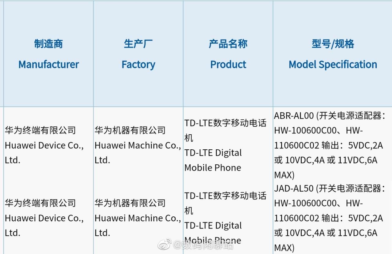 Huawei P50 series 3C certificate