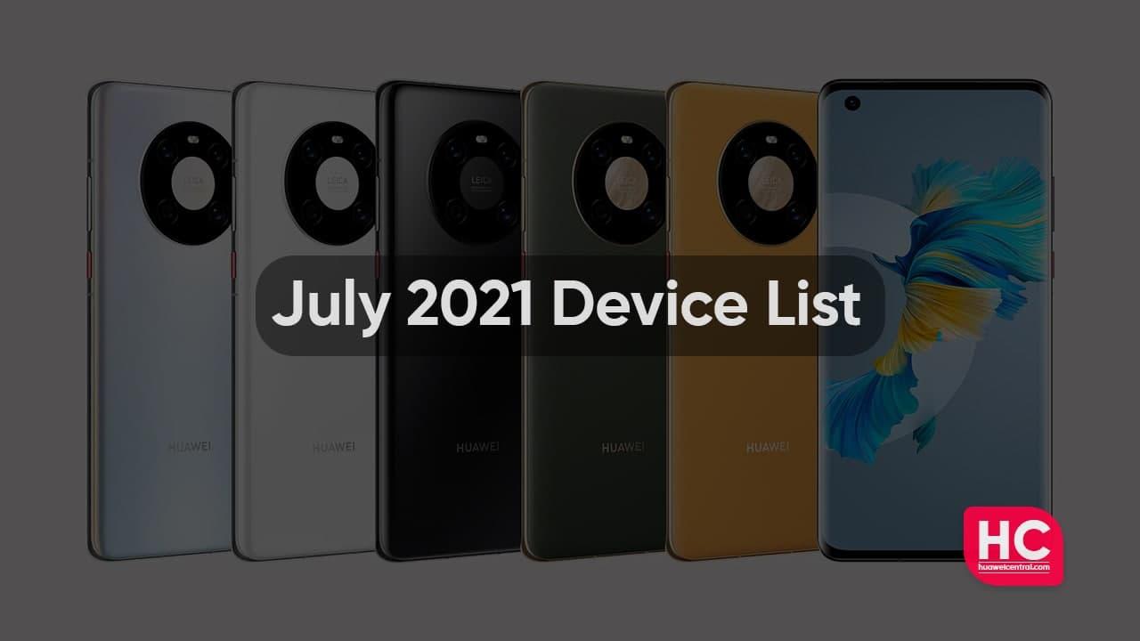 July 2021 device list