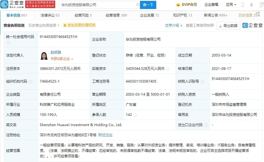 Huawei Investment and Holding Zhao Minglu