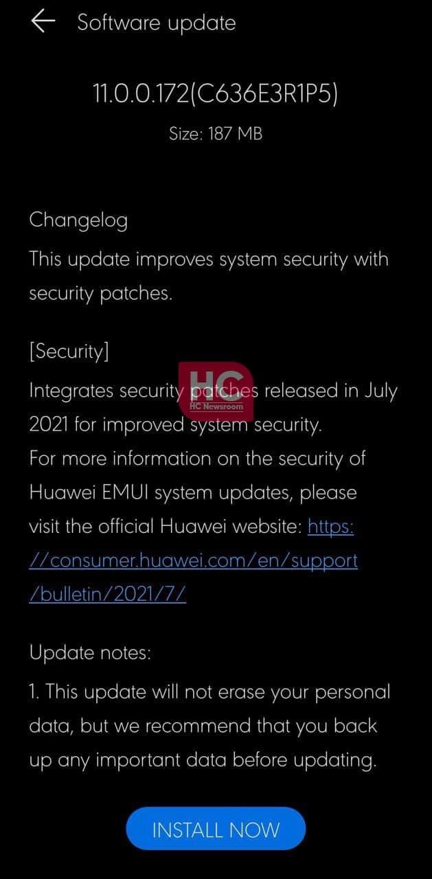 Huawei Nova 5T July 2021 security