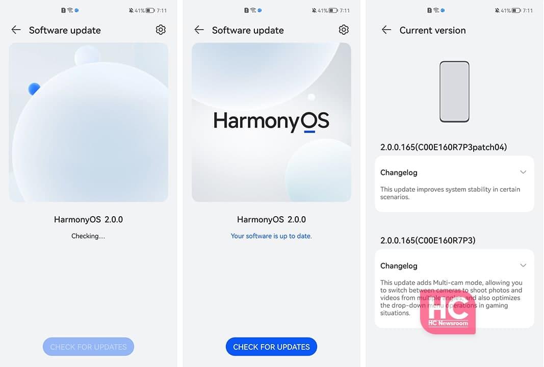 HarmonyOS update menu animation