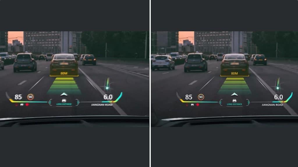 Huawei AR-HUD Ghost image comparison