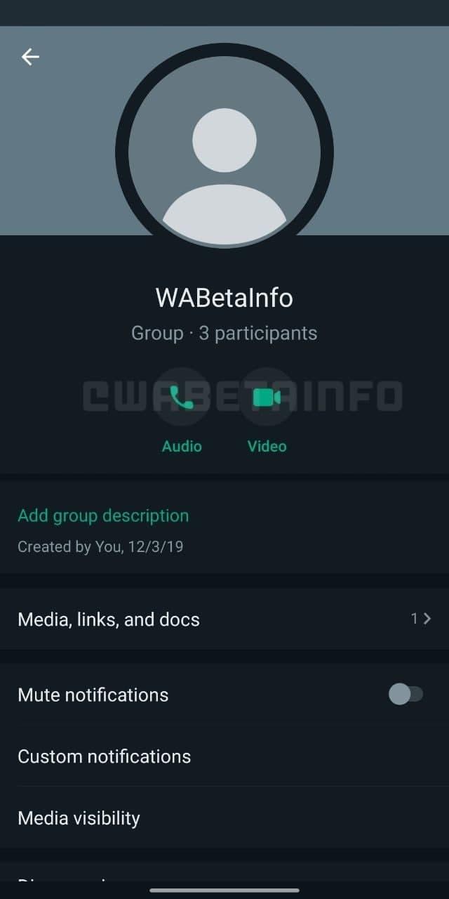 WhatsApp Group Info layout