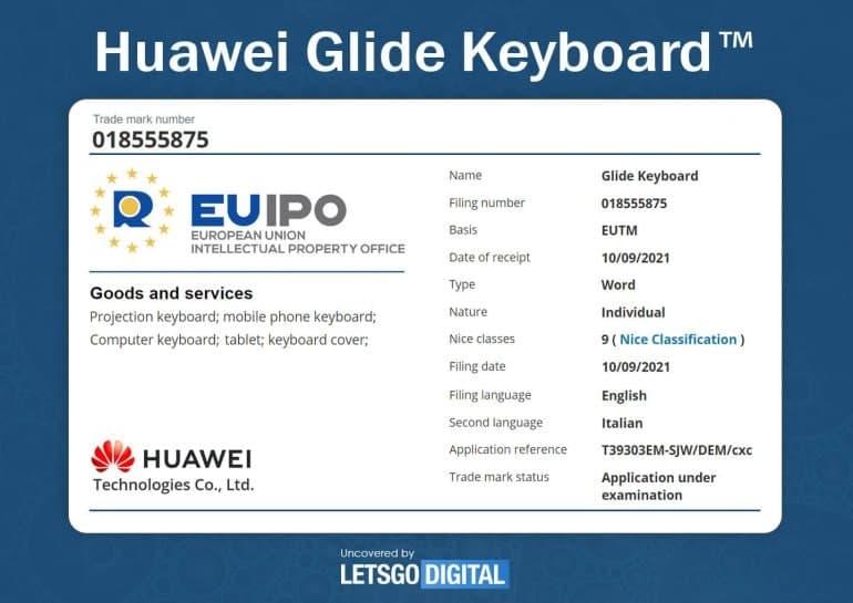 Huawei Glide Keyboard trademark