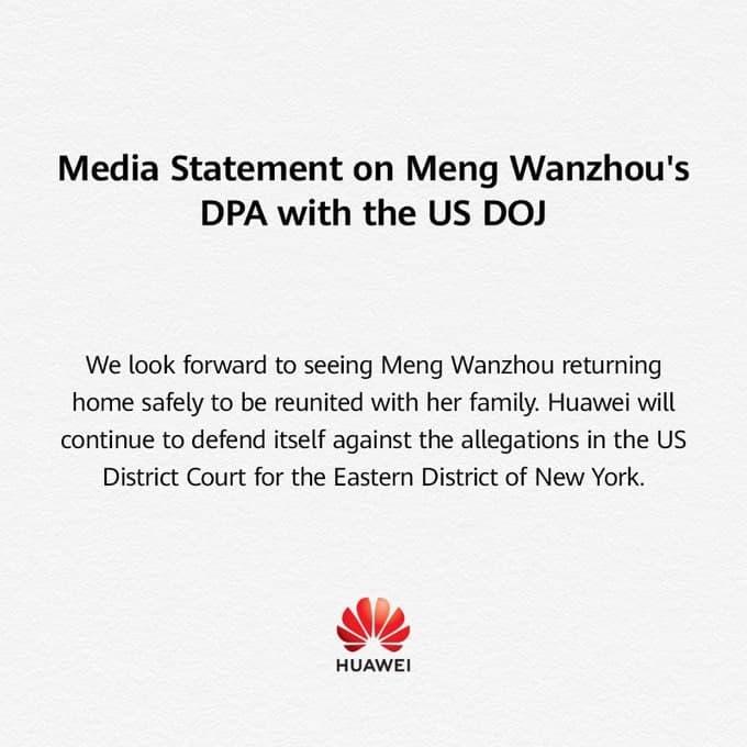 Huawei Statement Huawei CFO