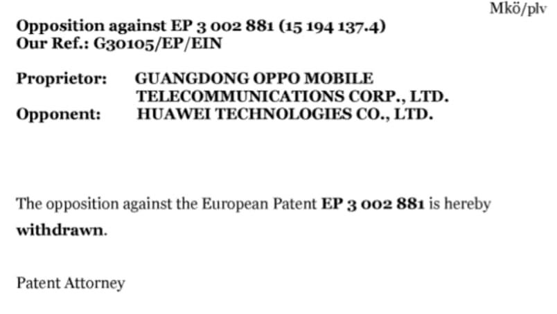 Huawei OPPO European patents