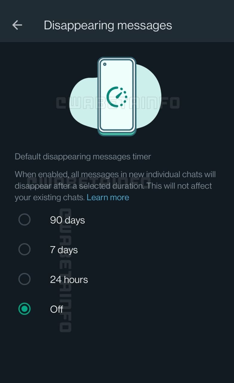 WhatsApp Disappearing Messages Timer