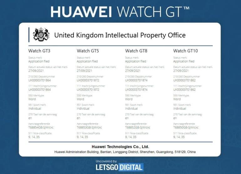 Huawei Watch GT3 Trademark