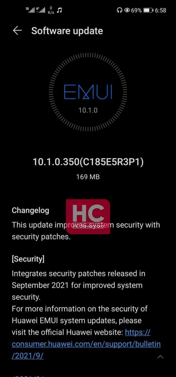 Huawei Nova 7i September 2021 security update