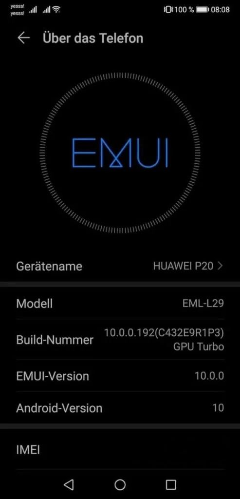 Huawei P20 July 2021 update