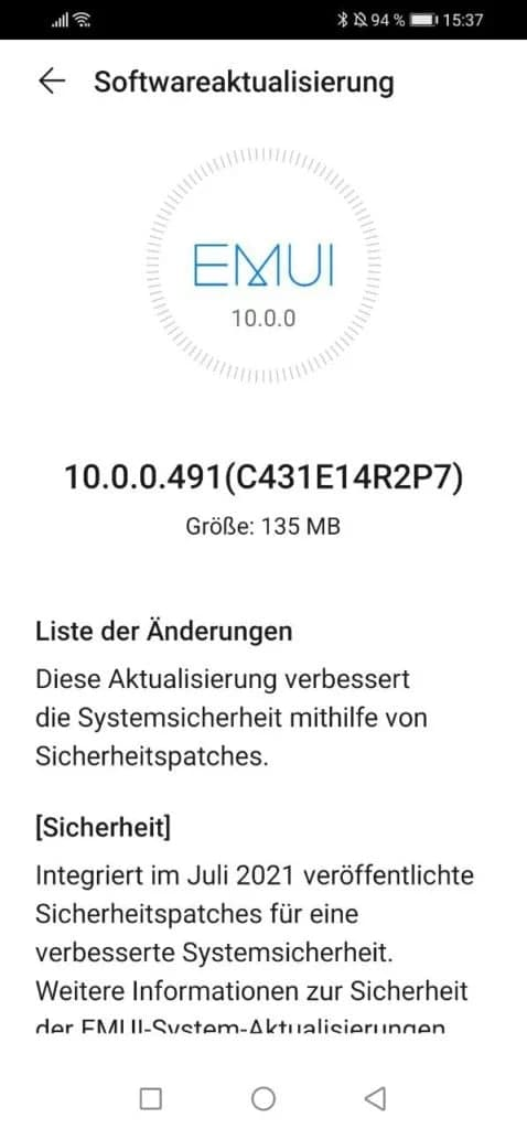 Huawei P30 lite July 2021 update