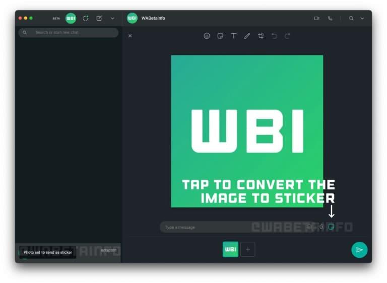 Send Image as stickers WhatsApp Desktop