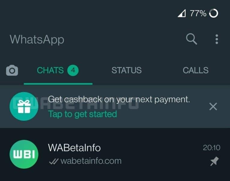 WhatsApp Cashback Payment