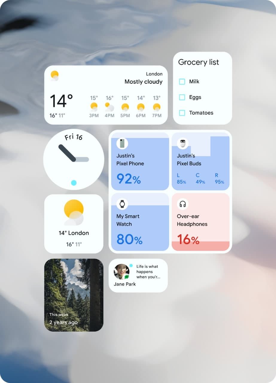 Android 12 redesigned widget