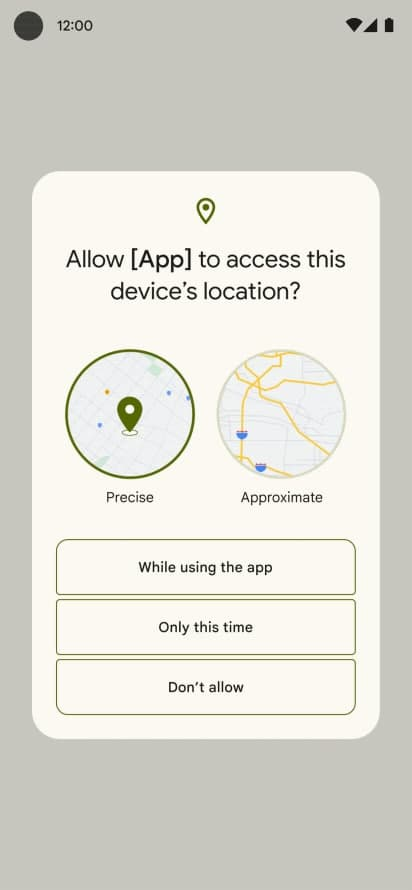 Android 12 location permission
