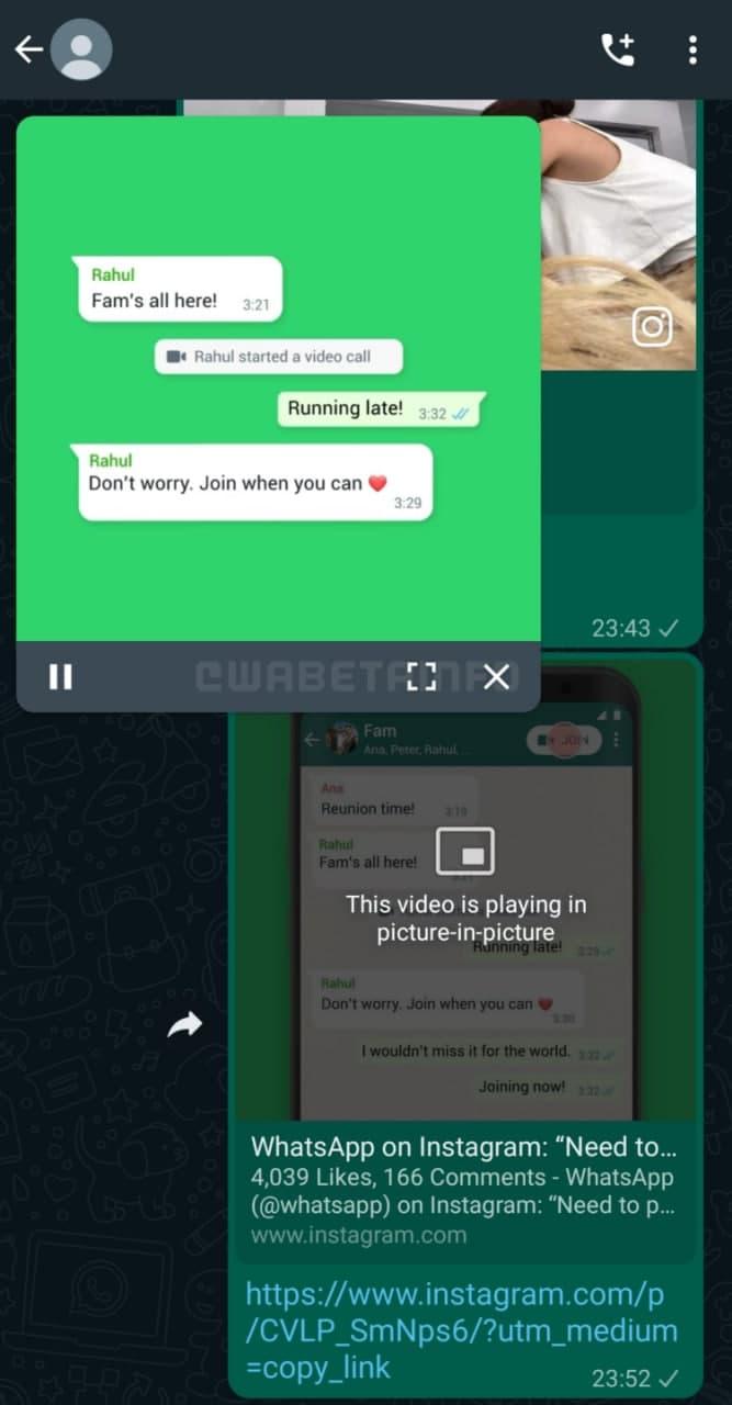 WhatsApp control bar
