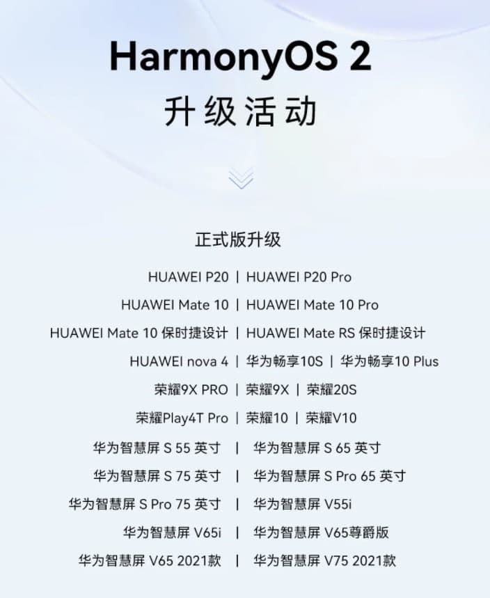 Huawei stable 25 HarmonyOS devices