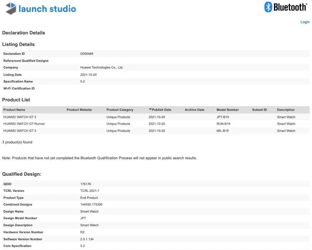 Huawei Watch GT 3 Bluetooth certificate