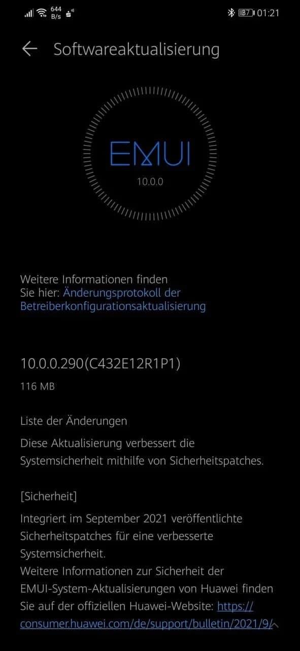 EMUI September 2021 security patch