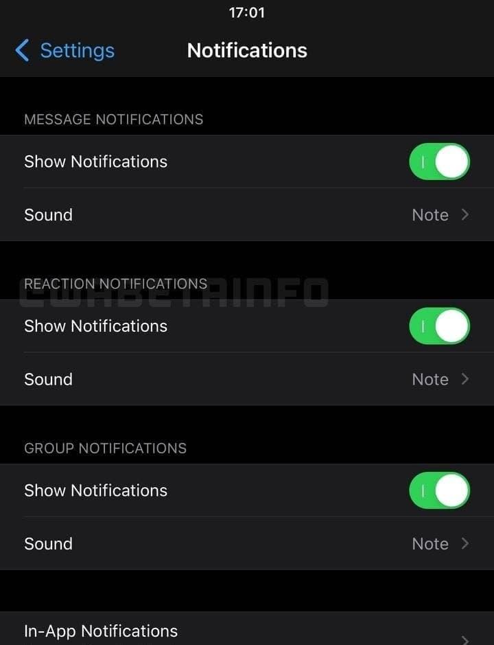 WhatsApp message reaction notifications